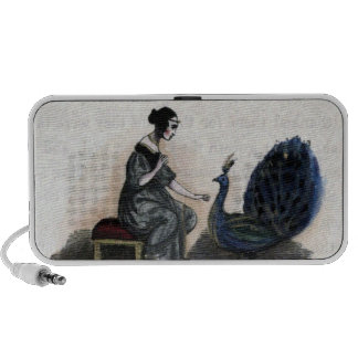 Vintage Woman & Peacock Laptop Speakers