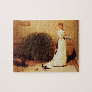 Vintage Woman & Peacocks Jigsaw Puzzles