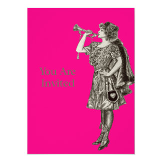 Vintage Woman Playing Horn Card