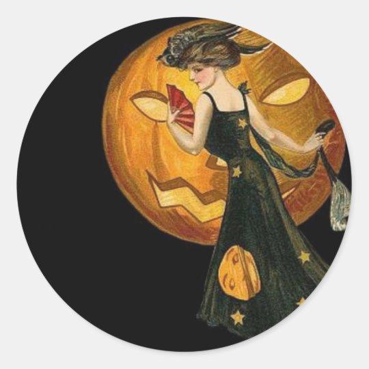 Vintage Woman & Pumpkin Classic Round Sticker