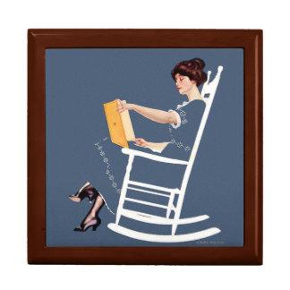 Vintage Woman Reading Gift Box
