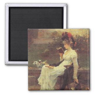 Vintage Woman Reading V2 2 Inch Square Magnet