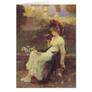 Vintage Woman Reading V2 Greeting Card