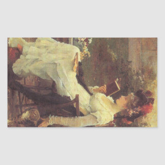 Vintage Woman Reading V2 Rectangle Stickers