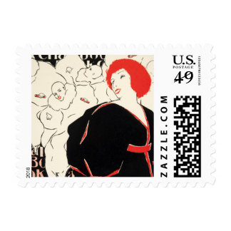 Vintage Woman Red Head Circus Theater Graphic Bold Stamps