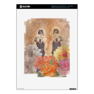 Vintage Woman Reflection Flowers Decal For iPad 3