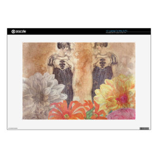 Vintage Woman Reflection Flowers Decals For Laptops