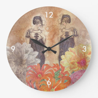 Vintage Woman Reflection Flowers Large Clock