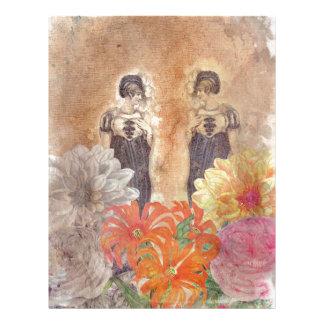Vintage Woman Reflection Flowers Letterhead