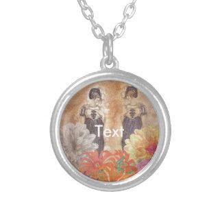 Vintage Woman Reflection Flowers Round Pendant Necklace