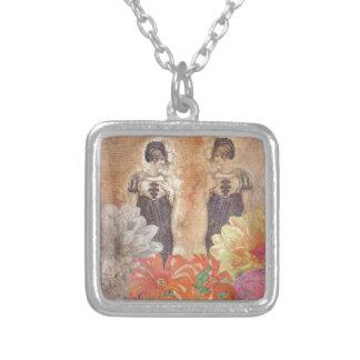 Vintage Woman Reflection Flowers Square Pendant Necklace