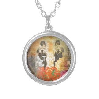 Vintage Woman Reflection Paris Round Pendant Necklace
