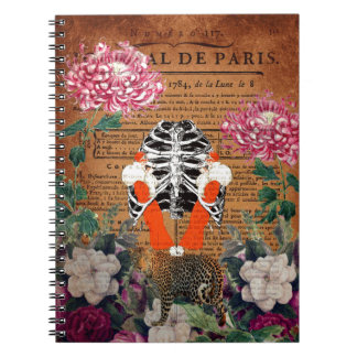 Vintage Woman Ribcage Floral Collage Spiral Notebook