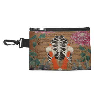 Vintage Woman Ribcage  Leopard Collage Accessory Bag