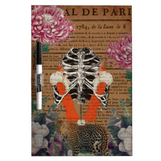 Vintage Woman Ribcage  Leopard Collage Dry-Erase Board