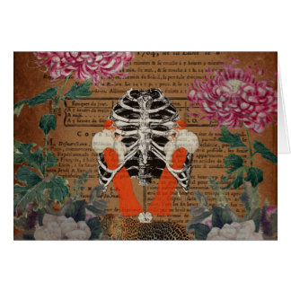 Vintage Woman Ribcage  Leopard Collage Greeting Card