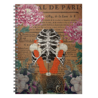 Vintage Woman Ribcage  Leopard Collage Notebook