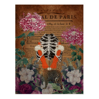 Vintage Woman Ribcage  Leopard Collage Postcard