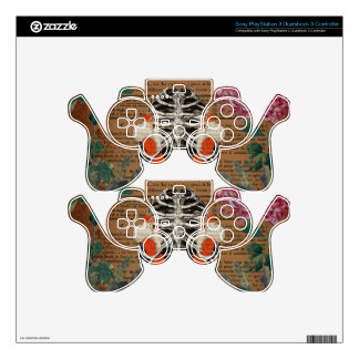 Vintage Woman Ribcage  Leopard Collage PS3 Controller Skin