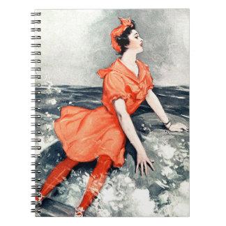 Vintage Woman Rock Sea Ocean Wave Orange Dress Spiral Notebook