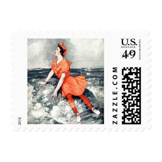 Vintage Woman Rock Sea Ocean Wave Orange Dress Stamp