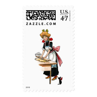 Vintage Woman Rolling Dough Postage
