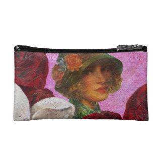 Vintage Woman Rose Flowers Cosmetic Bag
