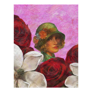 Vintage Woman Rose Flowers Letterhead