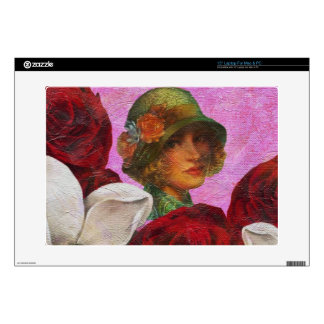 Vintage Woman Rose Flowers Skins For Laptops