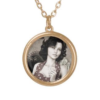 Vintage Woman Round Pendant Necklace