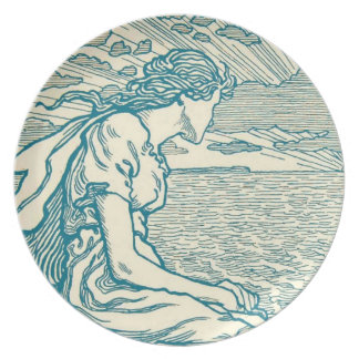 Vintage Woman Senta Love Cliff Sea Wagner Opera Party Plates