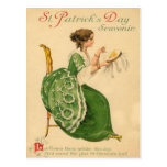 Vintage Woman Sew Harp of Erin St Patrick's Day Postcard
