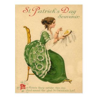 Vintage Woman Sew Harp of Erin St Patrick's Day Postcard
