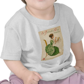 Vintage Woman Sew Harp of Erin St Patrick's Day Tshirt
