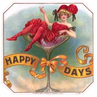 Vintage Woman Sitting in Champagne Glass Cutout