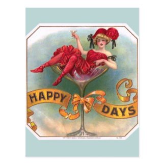 Vintage Woman Sitting in Champagne Glass Postcard