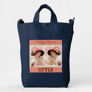 vintage woman style with flowers baggu duck bag