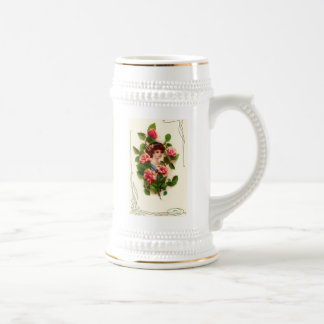 Vintage woman surrounded with flowers beer stein