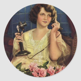 Vintage Woman Talking on the Phone Rose Flowers Classic Round Sticker