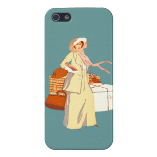 Vintage Woman Traveler Stylish Fashion Suitcases Cover For iPhone SE/5/5s