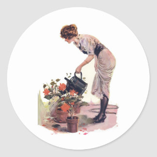 Vintage Woman Watering Can Flowers Classic Round Sticker