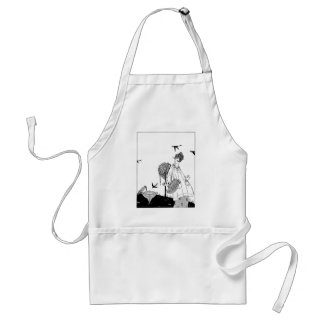 Vintage Woman with Bird Bath and Swallows Adult Apron