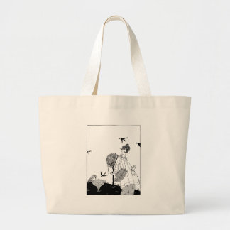 Vintage Woman with Bird Bath and Swallows Jumbo Tote Bag