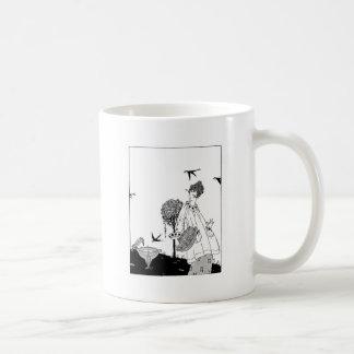 Vintage Woman with Bird Bath and Swallows Coffee Mug
