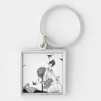 Vintage Woman with Bird Bath and Swallows Keychain