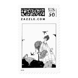 Vintage Woman with Bird Bath and Swallows Postage