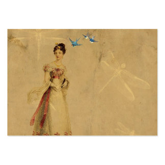 Vintage Woman with Birds and Dragonflies Large Business Card
