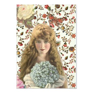 Vintage Woman with Calico Floral Pattern Card