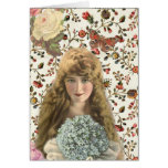 Vintage Woman with Calico Floral Pattern Greeting Cards