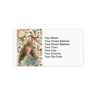 Vintage Woman with Calico Floral Pattern Label